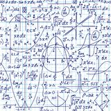 """Το μαθηματικό διανυσματικό άνευ ραφής σχέδιο με τους γεωμετρικούς αριθμούς, πλοκές και τύποι, """"χειρόγραφος σε ένα πλέγμα copybook απεικόνιση αποθεμάτων"""