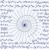 Το μαθηματικό διανυσματικό άνευ ραφής σχέδιο με τη γεωμετρικούς σπείρα, τους υπολογισμούς και τις εξισώσεις, χειρόγραφους στο πλέ Στοκ Φωτογραφίες