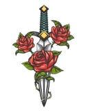 Το μαχαίρι στιλέτων και αυξήθηκε λουλούδια που σύρθηκαν στο ύφος δερματοστιξιών ελεύθερη απεικόνιση δικαιώματος