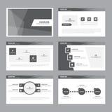 Το μαύρο άσπρο επίπεδο σχέδιο στοιχείων Infographic προτύπων παρουσίασης έθεσε για το μάρκετινγκ φυλλάδιων ιπτάμενων φυλλάδιων Στοκ Φωτογραφίες