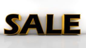 Το μαύρο και χρυσό κείμενο πώλησης στο empy δωμάτιο Στοκ φωτογραφία με δικαίωμα ελεύθερης χρήσης