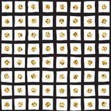 Το μαύρο μελάνι, το λευκό και ο χρυσός ακτινοβολούν συρμένο χέρι διανυσματικό άνευ ραφής σχέδιο πλέγματος Στοκ φωτογραφία με δικαίωμα ελεύθερης χρήσης