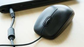 Το μαύρο ποντίκι ενιαίο συνδέει με τον υπολογιστή στοκ φωτογραφία με δικαίωμα ελεύθερης χρήσης