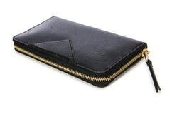 Το μαύρο πορτοφόλι που απομονώνεται στο λευκό στοκ εικόνα