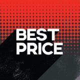 Το μαύρο πρότυπο εμβλημάτων αφισών πώλησης τιμών Παρασκευής καλύτερο με το μακρύ κείμενο τυπογραφίας σκιών αναδρομικό και η Πόλκα Στοκ Εικόνες