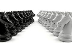 Το μαύρο σκάκι ιπποτών και το άσπρο σκάκι ιπποτών αντιμετωπίζουν το ένα το άλλο Στοκ Εικόνες
