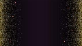 Το μαύρο σκηνικό κλίσης με χρυσό, λαμπρός, ακτινοβολεί αφηρημένο μεταλλικό σχέδιο σκόνης Οριζόντιο πλαίσιο εικόνων Πρότυπο απεικόνιση αποθεμάτων