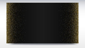 Το μαύρο σκηνικό κλίσης με χρυσό, λαμπρός, ακτινοβολεί αφηρημένο μεταλλικό σχέδιο σκόνης Οριζόντιο πλαίσιο εικόνων Πρότυπο διανυσματική απεικόνιση