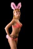 το μαύρο bunny ανασκόπησης κορίτσι απομόνωσε πέρα από προκλητικό στοκ φωτογραφίες