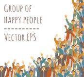 Το μεγάλο πλαίσιο ανθρώπων ομάδας ευτυχές απομονώνει στο λευκό διανυσματική απεικόνιση