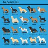 Το μεγάλο σκυλί αναπαράγει σκυλιών το χαριτωμένο κινούμενων σχεδίων σχέδιο κινούμενων σχεδίων σκυλιών κουταβιών σχεδίου διανυσματ απεικόνιση αποθεμάτων