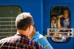 Το μεγάλο άνοιγμα ενός τοπικού σιδηροδρόμου των παιδιών σε Uzhgorod Στοκ Εικόνα