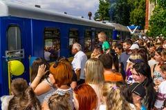 Το μεγάλο άνοιγμα ενός τοπικού σιδηροδρόμου των παιδιών σε Uzhgorod Στοκ εικόνες με δικαίωμα ελεύθερης χρήσης