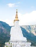 Το μεγάλο άσπρο πέντε Βούδας άγαλμα στο γιο pha phra wat thart kaew σε Khao Kho στοκ εικόνες