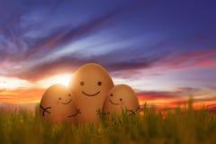Το μεγάλο αυγό που αγκαλιάζει το μικρό αυγό στη χλόη Στοκ Εικόνα