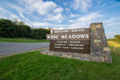 Το μεγάλο λιβάδι αγνοεί επάνω το εθνικό πάρκο Shenandoah Drive, Βιρτζίνια Στοκ Εικόνες