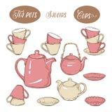 Το μεγάλο καθορισμένο εργαλείο περιλαμβάνει τα φλυτζάνια, teapots και πιάτα, στο άσπρο υπόβαθρο Διανυσματική απεικόνιση