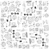 Το μεγάλο σχολικό χέρι στοιχείων doodle σύρει Στοκ εικόνα με δικαίωμα ελεύθερης χρήσης