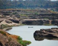 Το μεγάλο φαράγγι του Σιάμ με Mekong τον ποταμό είναι όνομα Sam Phan Bok (τρεις χιλιάες τρύπες) σε Ubon Ratchathani Ταϊλάνδη Στοκ Εικόνα