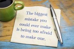 Το μεγαλύτερο λάθος εσείς θα μπορούσε πάντα να κάνει στοκ εικόνα