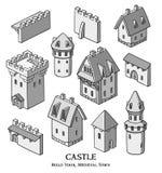 Το μεσαιωνικό αρχαίο σύνολο κτηρίων διαφορετικών ειδών παραδοσιακών σπιτιών απομόνωσε τη διανυσματική απεικόνιση ελεύθερη απεικόνιση δικαιώματος