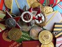 Το μετάλλιο ` για την υπεράσπιση Stalingrad `, διαταγή του κόκκινου αστεριού `, ` ` ο μεγάλος πατριωτικός πόλεμος `, ένα σημάδι ` στοκ εικόνες