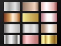 Το μεταλλικό ασήμι σύστασης φύλλων αλουμινίου, χάλυβας, χρώμιο, λευκόχρυσος, χαλκός, χαλκός, αργίλιο, αυξήθηκε χρυσά swatches κλί διανυσματική απεικόνιση
