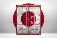 Το μεταφέροντας εμπορευματοκιβώτιο με τη εθνική σημαία στοκ εικόνες