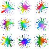 Το μελάνι χρωμάτων λεκιάζει τους παφλασμούς καθορισμένους Στοκ Εικόνες