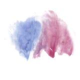 Το μελάνι splatter watercolour βάφει την υγρή σύσταση κηλίδων σημείων watercolor μπλε πορφυρή μακρο που απομονώνεται στο άσπρο υπ Στοκ Εικόνες