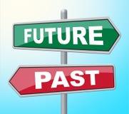 Το μελλοντικό παρελθόν αντιπροσωπεύει την πινακίδα και την εξέλιξη αφισσών διανυσματική απεικόνιση