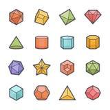 Τολμηρό κτύπημα εικονιδίων μορφής Geometrics με το χρώμα Στοκ εικόνα με δικαίωμα ελεύθερης χρήσης