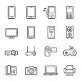 Τολμηρό κτύπημα τεχνολογίας και εικονιδίων συσκευών Στοκ Εικόνες