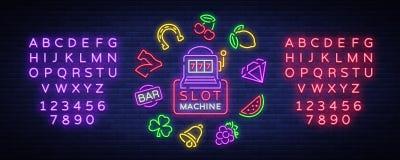 Το μηχάνημα τυχερών παιχνιδιών με κέρματα είναι ένα σημάδι νέου Συλλογή των σημαδιών νέου για μια μηχανή τυχερού παιχνιδιού Εικον απεικόνιση αποθεμάτων