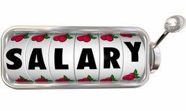 Το μηχάνημα τυχερών παιχνιδιών με κέρματα μισθών κυλά το εισόδημα εργασίας πινάκων πληρώνει τις αποδοχές ελεύθερη απεικόνιση δικαιώματος