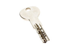 Το μηχανικό ασημένιο κλειδί προστασίας διάρρηξης ασφάλειας αντικλεπτικό είναι Στοκ Εικόνα