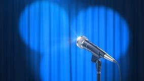 Το μικρόφωνο και μια μπλε κουρτίνα με τα επίκεντρα, τρισδιάστατα δίνουν στοκ εικόνα με δικαίωμα ελεύθερης χρήσης