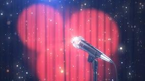 Το μικρόφωνο με τα μαγικά μόρια ενάντια στις θολωμένες κόκκινες κουρτίνες με τα επίκεντρα, τρισδιάστατα δίνει στοκ φωτογραφίες