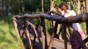 Το μικρό κορίτσι κοιτάζει από την όμορφη ξύλινη γέφυρα απόθεμα βίντεο