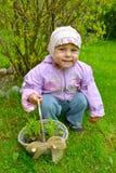 Το μικρό κορίτσι κρατά υπό εξέταση ένα καλάθι με το σπορόφυτο μαργαριτών Στοκ φωτογραφίες με δικαίωμα ελεύθερης χρήσης