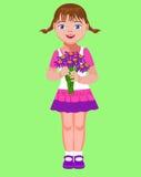 Το μικρό κορίτσι με μια ανθοδέσμη ανθίζει Στοκ Εικόνα
