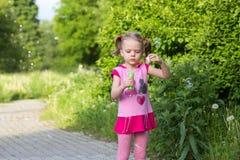 Το μικρό κορίτσι με τις πλεξίδες φυσά τις φυσαλίδες σαπουνιών Στοκ Εικόνα