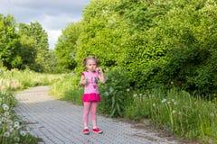 Το μικρό κορίτσι με τις πλεξίδες φυσά τις φυσαλίδες σαπουνιών Στοκ φωτογραφίες με δικαίωμα ελεύθερης χρήσης