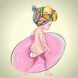 Το μικρό κορίτσι με το ροζ κολυμπά το δαχτυλίδι Διανυσματική απεικόνιση