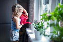 Το μικρό κορίτσι ποτίζει τα λουλούδια στο παράθυρο Στοκ φωτογραφία με δικαίωμα ελεύθερης χρήσης