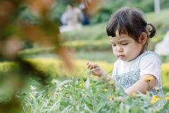 Το μικρό κορίτσι που τρέχει για τη διασκέδαση στον κήπο Στοκ εικόνες με δικαίωμα ελεύθερης χρήσης