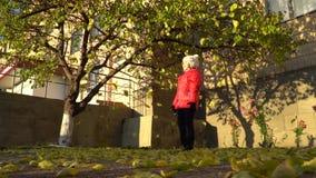 Το μικρό κορίτσι ρίχνει τα φύλλα φθινοπώρου φιλμ μικρού μήκους