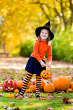 Το μικρό κορίτσι στο κοστούμι μαγισσών στο τέχνασμα αποκριών ή μεταχειρίζεται Στοκ Εικόνες
