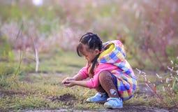 Το μικρό κορίτσι στο υπαίθριο παιχνίδι Στοκ Φωτογραφίες