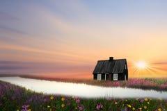 Το μικρό μαύρο σπίτι Στοκ Εικόνες